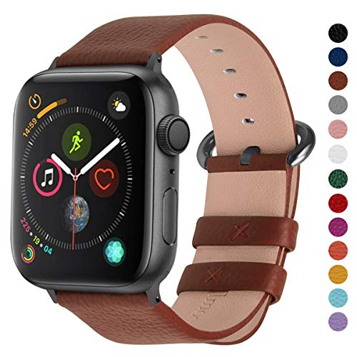 Fullmosa Compatible Apple Watch Band 42mm 44mm 40mm 38mm Leather Compatible iWatch Band/Strap Compatible Apple Watch Series 5 4 3 2 1, 42mm 44mm Brown + Smoky Grey Buckle