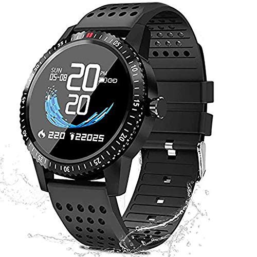 QWMoonRu Fitness Tracker with Heart Rate Blood Pressure Monitor, Activity Tracker Watch with Pedometer, Sleep Monitor, Round Face Smart Watch for Women, Women, Kids (T1-Black)