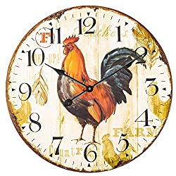 SkyNature Wooden Wall Clock, Large Vintage Farmhouse Clock with Arabic Numerals, Indoor Silent Non-Ticking Battery Operated Clock for Living Room, Bedroom, Kitchen & Den - 24 Inch, Rooster