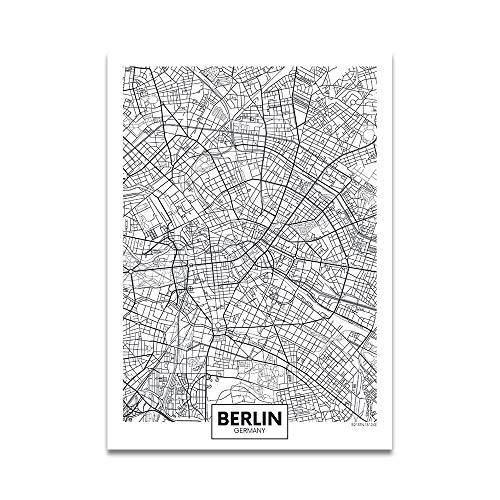 Einfaches Plakat Europa Hauptstadt Moderne Weltstadtplan Paris London Verkehrswege Straße Druck Leinwand Malerei Wandkunst Wohnkultur 50 * 70cm