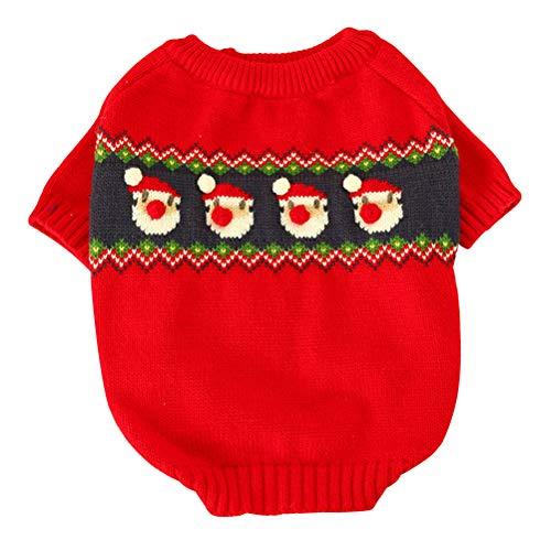 POPETPOP- Haustier Weihnachtskostüm-Haustier Red Santa Claus Sweater Dog Party Kostüme Outfits für Herbst Winter (Größe M)