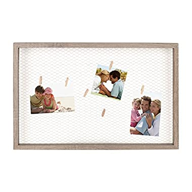 DesignOvation Tweden Clip Wood Picture Frame Chicken Wire with Clothespin Clips, 25  x 16.5 , Rustic Brown