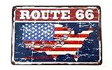 LB H&F Blechschild Retro Amerika Nostalgie Retro Auto Tür Route 66 Fahne USA Schild 30x20 cm Gross