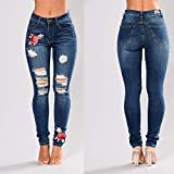 ANBIWANGLUO Womens Denim Skinny Ripped Slim Jeans, Embroidered Flower Small Feet Elastic Trousers Size S-XXXL Dark Blue UK 10 (tag Size L)