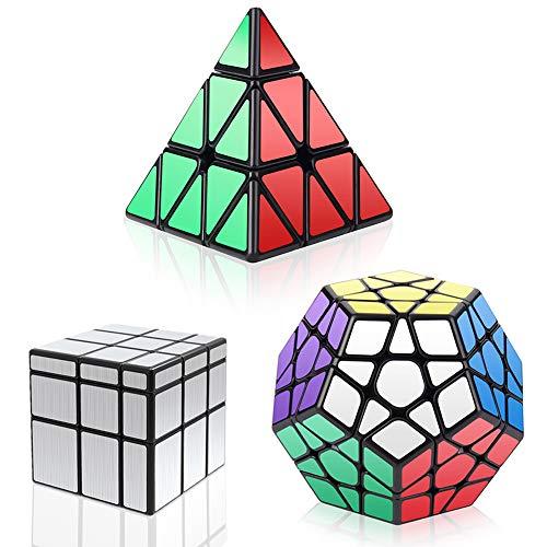 Vdealen 3 Speed Collection Magic Cube Bundle Pack – Pyraminx, Megaminx, Silver Mirror 3 x 3 x 3, Puzzle-Set-Silber