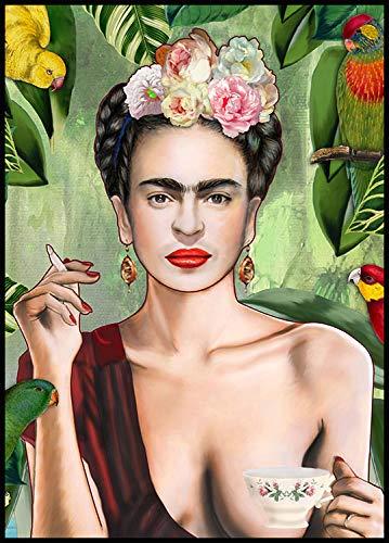 Ideastore Impresion Frida Kahlo, Cuadro con poster de Papel de Frida autorretrato con Marco Negro, Listo para Colgar, reproduccion Frida, Impresiones de Calidad. Producto 100% Italiano