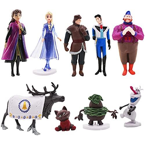Hilloly 9 pcs Princesa Congelada Cake Topper Frozen Cake Topper Mini Juego de Figuras Niños Baby Shower Fiesta de cumpleaños Pastel Decoración Suministros Cumpleaños Decoración