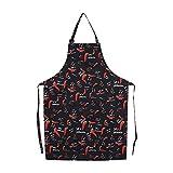 Delantal de Cocina Unisex con Cuello Ajustable, 5 patrones, para Hombres y Mujeres, Delantal con 2 bolsillos para la cocina, restaurante(#5 Chilli)