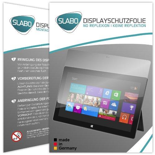 Slabo 2 x Bildschirmschutzfolie Microsoft Surface Windows RT Bildschirmschutz Schutzfolie No Reflexion Keine Reflektion MATT-Entspiegelnd Made IN Germany