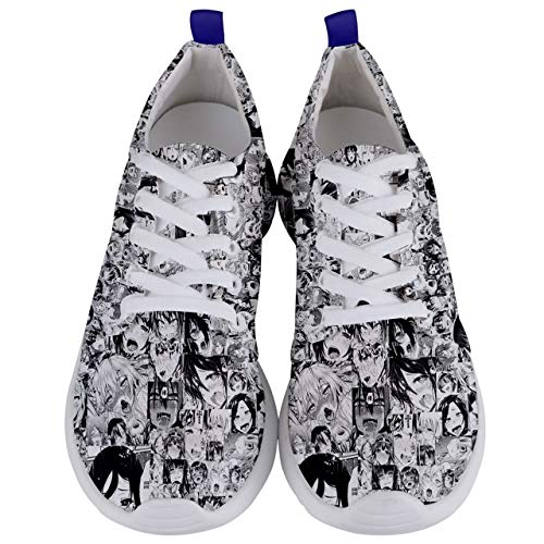 Dcustomwatch Anime Ahegao Funny Japanese Hentai Porn Men Womens Running Sneaker Shoes (10.5) Green