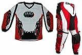 WinNet Completino maglia maglietta + pantalone rosso bimbo e bambino per moto da cross mini quad bmx