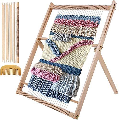 Myriad Choices Webrahmen aus Holz Webstuhl 60x54cm mit Wendekamm Stellstange für Anfänger und Erwachsene um Schals und Dekorationen zu Machen