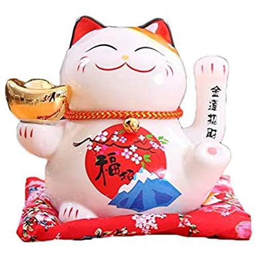 Chinesische Feng Shui White Lucky Waving Cat Figur mit beweglichen Arm Maneki Neko Waving Fortune Cat L16 * W14 * H16 cm,A