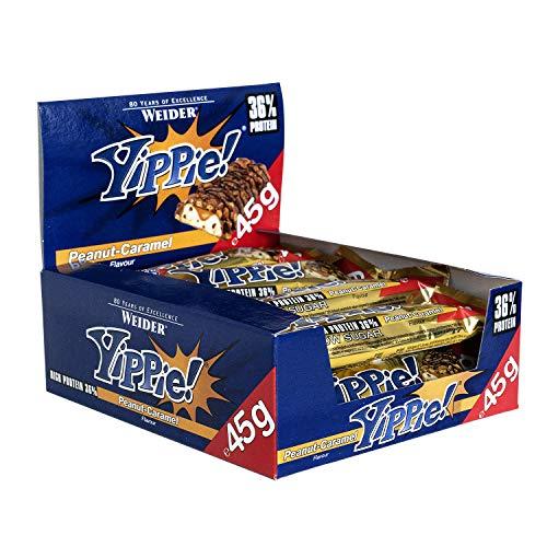 Weider Yippie Bar. Barrita de Proteína 36%. Bajo contenido en Carbohidratos y Azúcares. Sabor Cacahuete-Caramelo (12x45 g)
