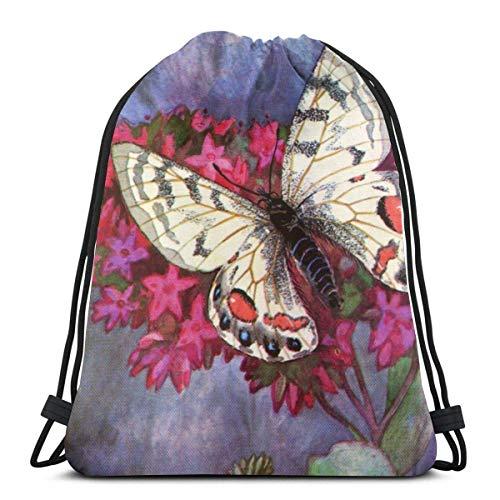 Mochilas de Cuerdas Mochila con cordón de pintura de mariposas Saco de gimnasio Bolsa de cincha Bolsa de cuerda 36X43CM