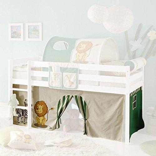Jugendmöbel24.de Vorhang Safari 3-teilig 100% Baumwolle Stoffvorhang Bettvorhang inkl Klettband für Hochbett Spielbett Etagenbett Stockbett Kinderbett
