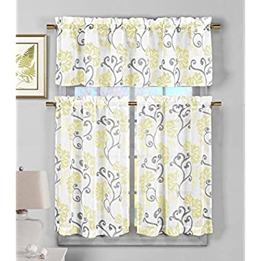 3 Piece Sheer Window Curtain Set: Floral Vine Design, 2 Tiers, 1 Valance (Yellow)