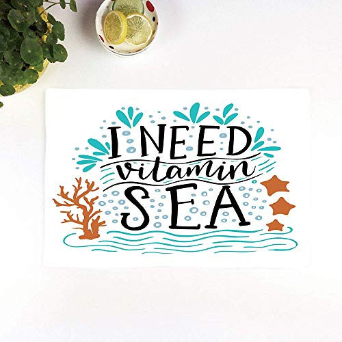 Table Mats,Sea,I Need Vitamin Sea Inspirational Quote Hand Drawn with Coral Waves Starfishes Bubbles,Mult,Set of 4 Placemats,Heat Resistant Heat Insulation Non-slip Washable Dinner Mats slip Placemats