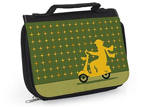 Waschtasche Damen, Kulturbeutel Italien, Motorroller, Waschbeutel zum Aufhängen, Tasche grün, Geschenk für Frauen, Mofa, Rom, WT004
