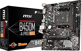 MSI ProSeries AMD Ryzen 2ND and 3rd Gen AM4 M.2 USB 3 DDR4 D-Sub DVI HDMI Crossfire ATX Motherboard (B450-A Pro Max) (B450...