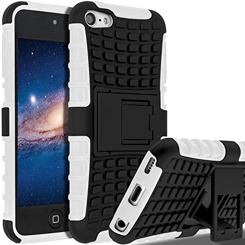 iPod Touch 7th Generation Case, iPod Touch 6 Case, iPod Touch 5 Case, SLMY(TM) Heavy Duty Dual Layer Shockproof Resistance Hybrid Rugged Cover Case with Built-in Kickstand (White)