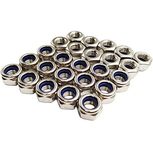 M10 Kontermutter Edelstahl Nylon Kontermuttern 25 Stück 304 Sechskantschraubeneinsatz Kontermutter (M10–25 Stück)