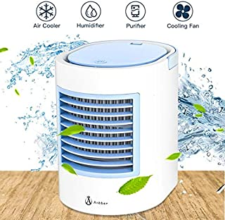 Portable Air Conditioner, Portable Cooler, Quick & Easy Way to Cool Personal Space, As Seen On TV, Suitable for Bedside, Office and Study Room. Three Wind Level Adjustment (Light Blue)