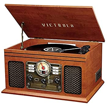 Victrola Nostalgic 6-in-1 Bluetooth Record Player & Multimedia Center with Built-in Speakers - 3-Speed Turntable CD & Cassette Player AM/FM Radio | Wireless Music Streaming | Mahogany
