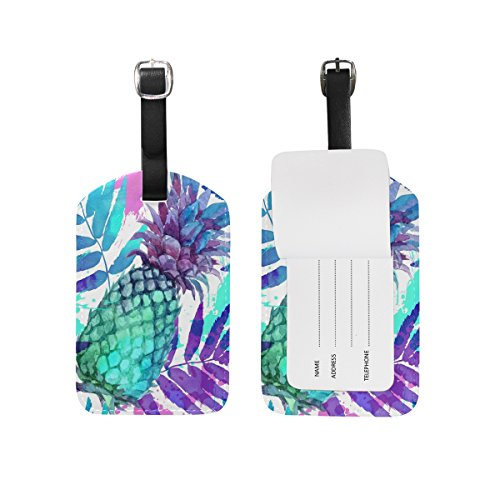 Domoko Watercolor Pineapple Fruit Luggage Tags Travel ID Bag Tag 1 Piece