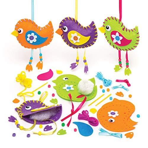 """Baker Ross Anhänger-Nähsets """"Vögel im Frühling"""" (3 Stück) – für Kinder zum Basteln und Verzieren"""