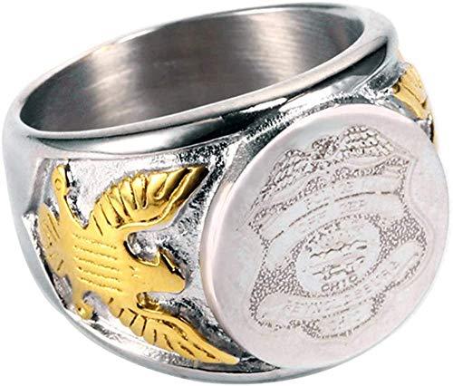 NA Anillos de Medalla de Anillo Militar de Acero de Titanio Vintage para Hombres, Plata/Oro/Negro