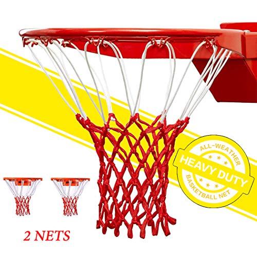 GothicBride Professionelles Basketballnetz Allwetter-Anti-Peitsche, passend für Standard-Innen- oder Außenfelgen - 12 Schlaufen (Red&White, 5mmWire Diameter)