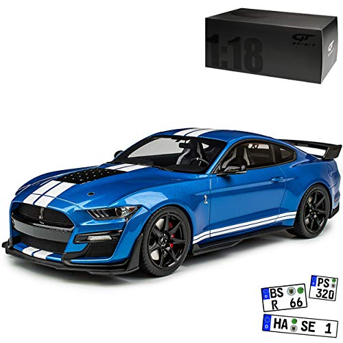 GT Spirit Ford Shelby Mustang GT500 Coupe Blau mit Streifen in Weiss Modell ab 2015 Version ab Facelift 2017 Nr 268 1/18 Modell Auto