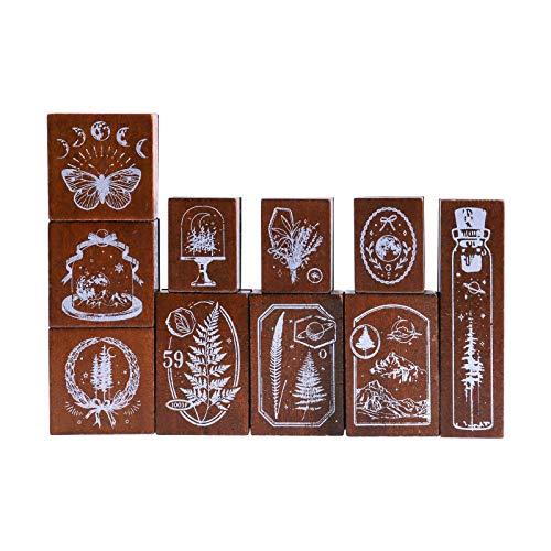 Lychii Zestaw pieczątek z drewna, 10 szt. vintage gumowa uszczelka z kwiatem, rośliną, motylem, wzorami księżycowymi, osadzone znaczki do majsterkowania, dzienników, pakowania prezentów, artykuły biurowe