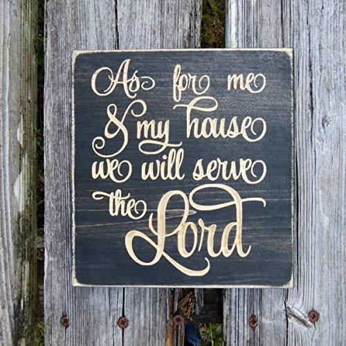 43LenaJon as for me and my house, cartello in versi della Bibbia, Joshua 24 15, cartello in legno, me e la mia casa, servire il Signore, servire il Signore, come per me, cartello rustico
