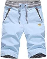 LTIFONE Men's Casual Shorts Slim Fit Drawstring Summer Beach Shorts with Elastic Waist and Pockets(Sky Blue,M)