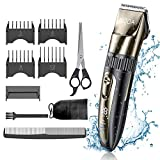 Mens Electirc Waterproof Hair Trimmer Clippers Beard Trimmer Rechargable Professional Barber Hair Cutter Shaving Grooming Machine Kit(Gold)