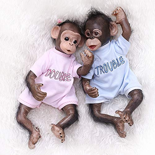 Zero Pam Lovely Reborn Orangutan Twins Baby Dolls with Black Fur Hair, 16 inch 40cm Lifelike Funny Monkey Dolls, Trouble and Double