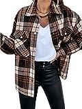 ORANDESIGNE Damen Karierte Langarm Tasche Reißverschluss Hemdjacke Motorradjacke Lose Lässige Retro Cardigan Jacke Mantel Herbst Winter A Braun XL