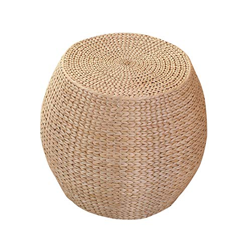 Taburetes de paja, taburetes redondos con ventanales de tatami, taburetes pequeños para las salas de estar del hogar, plantas naturales tejidas a mano, marcos de madera maciza para una buena carga