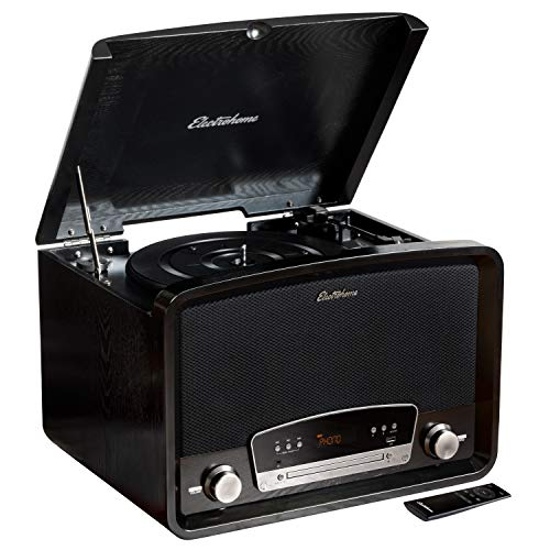 Electrohome Kingston 7-in-1 Vintage Vinyl Record Player Stereo System with 3-Speed Turntable, Bluetooth, AM/FM Radio, CD, Aux in, RCA/Headphone Out, Vinyl/CD to MP3 Recording & USB Playback (RR75B)