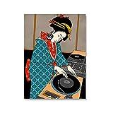 Mmpcpdd Pósters japoneses de Dj abstractos de belleza lienzo de pintura de pared de arte de la pared fotos restaurante cocina decoración del hogar -40 x 60 cm x 1 sin marco