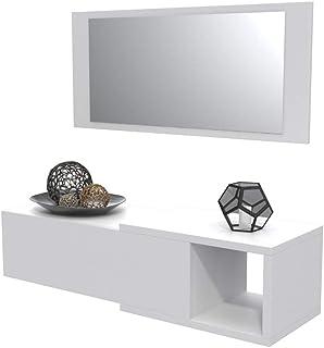 Dormidán- Mueble recibidor con cajón más Espejo 1m de Ancho (Blanco)