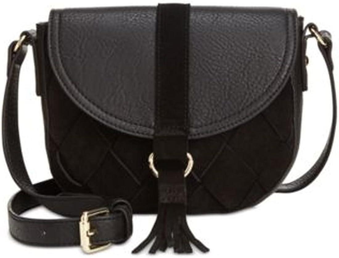 INC Womens Ella Leather Trim Tassel Saddle Handbag Black Small