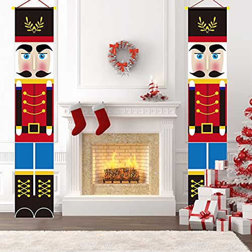 Exnemel 2 Piezas Banner de Cascanueces Navidad, Cortina de Cascanueces para Decoraciones Navideñas al Aire Libre, Cortina de Puerta de Soldado de Nogal, 71 x 12 Pulgadas (C)