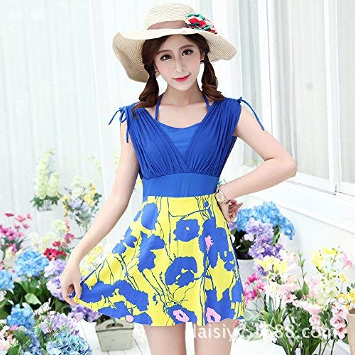 Jianheads Split Skirt Style Bathing Suit Sexy Large Flower Sau Video Thin, Cup bluee + Yellow,Xxl