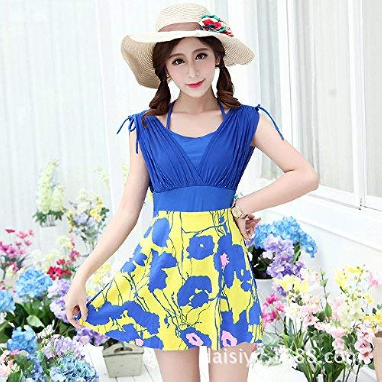 Der Split Skirt Style Bathing Suit Sexy Large Flower Sau Video Thin, Cup blueee + Yellow,Xl Women's swimwear
