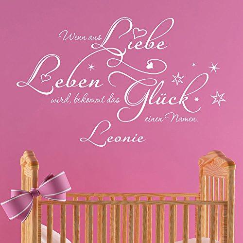 KLEBEHELD® Wandtattoo Wenn aus Liebe Leben wird bekommt das Glück einen Namen | Spruch Babyzimmer Wunschname | Farbe schwarz, Größe 60x37cm
