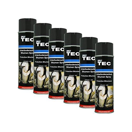 6X Kwasny SprayTec Unterbodenschutz Spray Bitumen Schwarz AutoK 500ml 235500