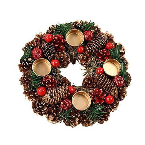 Bouder Christmas Tannenzapfen Kerzenständer Weihnachten Adventskranz mit 4 Kerzenhaltern für dekorativen Urlaub Weihnachten Tischdekoration, Multi, B